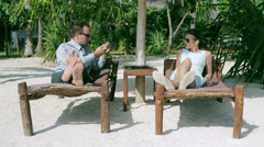 Businesspeople taking photos in exotic place Stock Footage