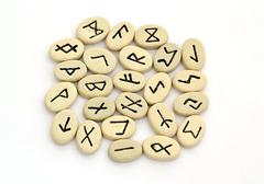 fortune telling of the nordic runes - stock photo