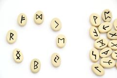nordic runes - circle shape - stock photo