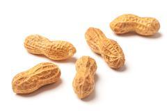 several raw peanuts - stock photo