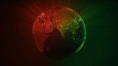 Spinning Earth with shinning city lights. Loopable. Red/green Stock Footage