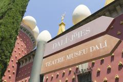 signs dali museum in figueres. - stock photo