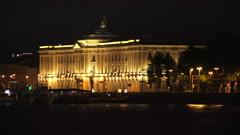 Saint-Petersburg Academy of art. Night. 4K. Stock Footage