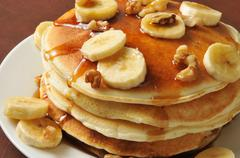 Banana nut pancakes closeup - stock photo