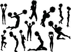 eps 10 vector illustration of funky cheerleader silhouette - stock illustration