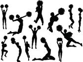 Stock Illustration of eps 10 vector illustration of funky cheerleader silhouette