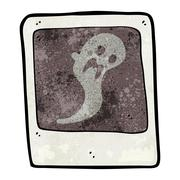 Stock Illustration of cartoon ghost in the photograph