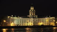 Kunstkamera. Museum of anthropology and Ethnography in St. Petersburg. Night.4K. - stock footage
