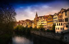 tuebingen am neckar cityscape in bad weather - stock photo
