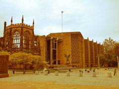 Retro looking Coventry Cathedral Stock Photos
