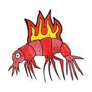 Stock Illustration of cartoon hot shrimp