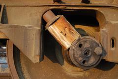 Wedged railway wheel close-up - stock photo