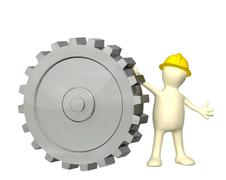 Stock Illustration of 3d puppet with cogwheel