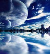 Landscape in fantasy planet Stock Illustration