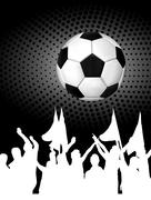 Soccer ball (football) with silhouettes of fans - stock illustration