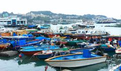 Fishing and house boats anchored in Cheung Chau harbour. Hong Kong. - stock photo