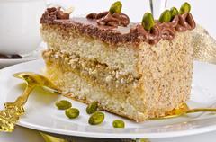 Halva cake, Kaffe and champagne - stock photo