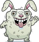 Ugly bunny waving Stock Illustration
