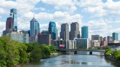 4K Timelapse of the philadelphia skyline - Pennsylvania USA - stock footage