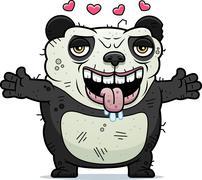 Ugly panda hug Stock Illustration