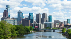 4K Timelapse of the philadelphia skyline - Pennsylvania USA - stock footage