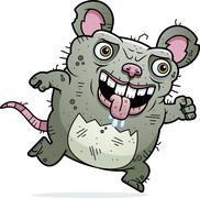 Ugly rat running Stock Illustration