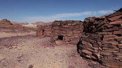 "Panoramic view of ""Nawamiss"", stone tombs in Sinai desert - stock footage"
