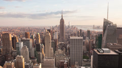4K Aerial Sunset timelaspe of Manhattan skyline - New York - USA - stock footage