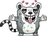 Ugly lemur hug Stock Illustration