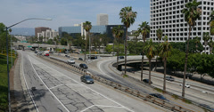 4K Freeway Traffic 11 Los Angeles Downtown Stock Footage