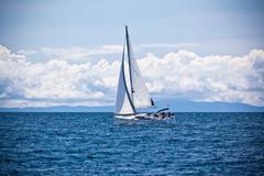 Recreational yacht at adriatic sea Stock Photos