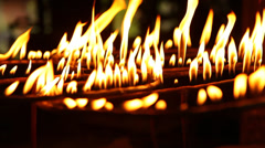 Fire flame isolated on black background Stock Footage