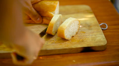 Chef cooks sandwiches with pate, tomatoes, sausage take off from plate, eat them Stock Footage