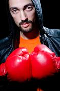 Man with boxing gloves Stock Photos