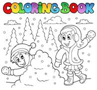 Coloring book winter theme  Piirros