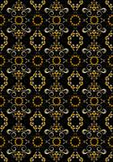 Stock Illustration of Black seamless pattern with orange flowers and silver spirals.