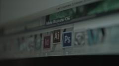 Open Adobe Illustrator screen Stock Footage