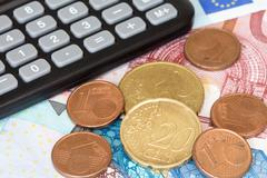 calculator on eu currency - stock photo