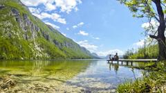 Bohinj Lake (Bohinjsko jezero), Slovenia Stock Footage