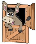 Cute donkey in stable Stock Illustration