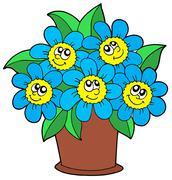 Cute flowers in pot - stock illustration
