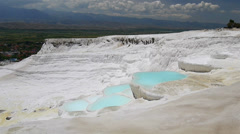 Pamukkale spring cascade and travertines terraces with no people Turkey - stock footage