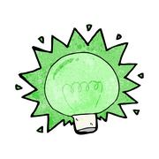 Cartoon flashing green light bulb Stock Illustration