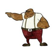 Stock Illustration of cartoon angry tough guy pointing