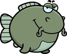 Sly cartoon catfish Stock Illustration