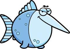 sly cartoon swordfish - stock illustration