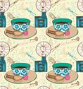 Vintage tea time background, seamless pattern Stock Illustration