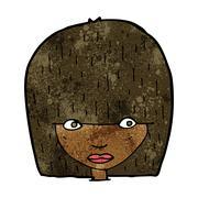 cartoon staring woman - stock illustration