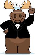 Stock Illustration of cartoon moose tuxedo
