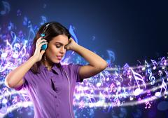 young woman with headphones listening to music - stock illustration